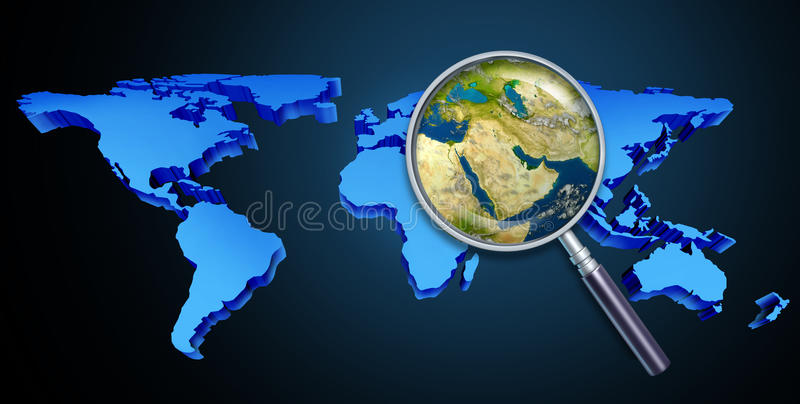 Middle Eastern Crisis. Planet earth middle eastern crisis with political issues of the persian gulf and crude oil with countries as Iran Israel Egypt Libya vector illustration