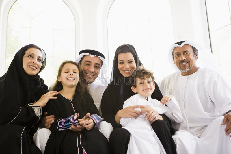 A Middle Eastern family. At home