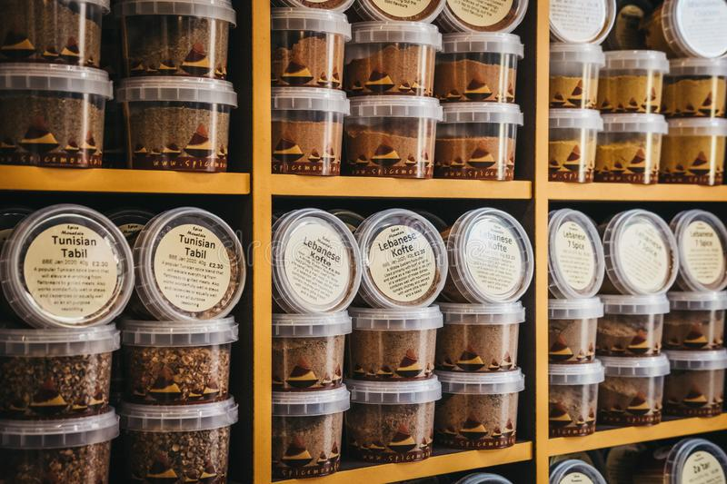 Middle Eastern spices on sale at Borough Market, London, UK. stock images