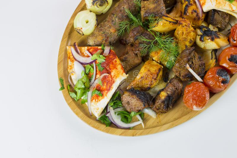 Middle eastern Lebanese style mixed grill platter stock photos