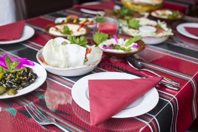 Middle eastern restaurant table set stock photos