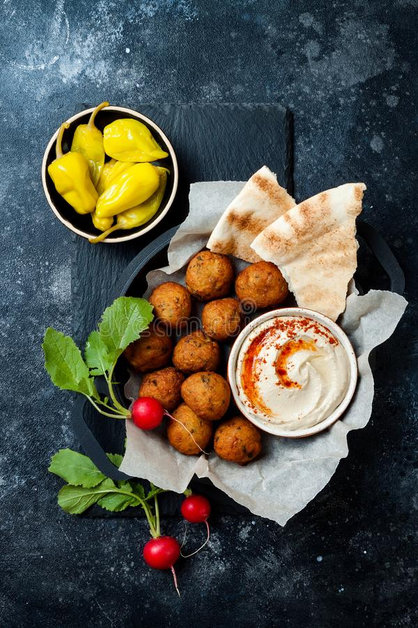 Middle Eastern traditional dinner. Authentic arab cuisine. Meze party food. Top view. Flat lay, overhead stock images