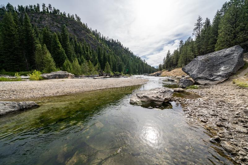 Middle Fork of the Salmon River in Idaho, near Boundary Creek in the summer.  royalty free stock images
