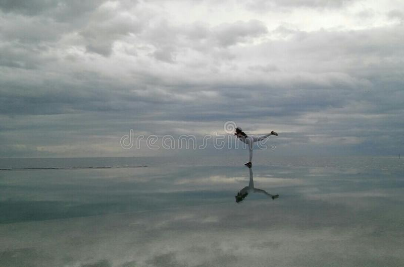 In the middle of perfect reflection royalty free stock photos