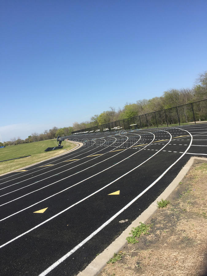 Middle school ground track field. A nice public middle school ground track field, TX USA stock images
