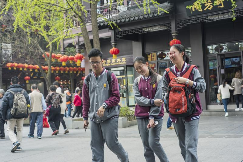 Middle school students in Confucius temple scenic spot. royalty free stock image