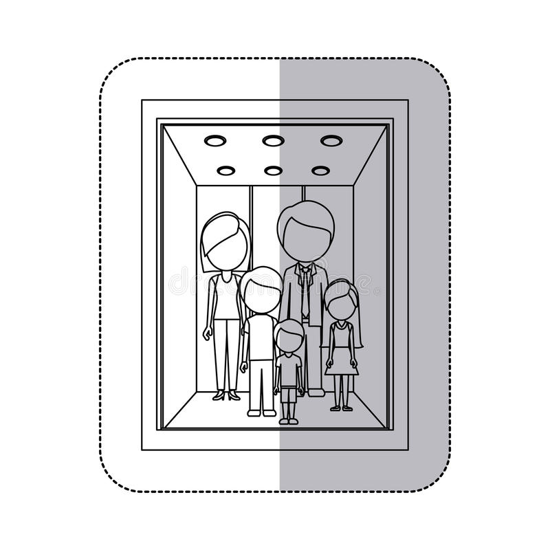 middle shadow monochorme sticker with family in elevator royalty free illustration