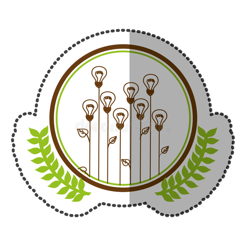 Middle shadow sticker colorful with olive crown with lightbulb in shape flower in circle. Illustration stock illustration