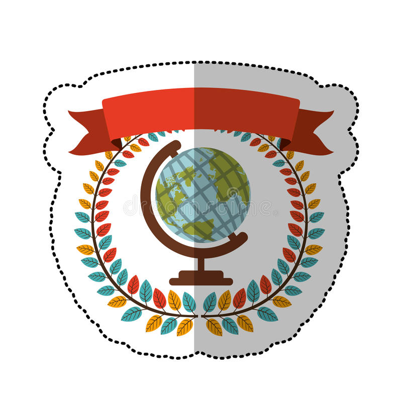Middle shadow sticker with colorful olive crown with ribbon and download middle shadow sticker with colorful olive crown with ribbon and earth world map stock vector gumiabroncs Images