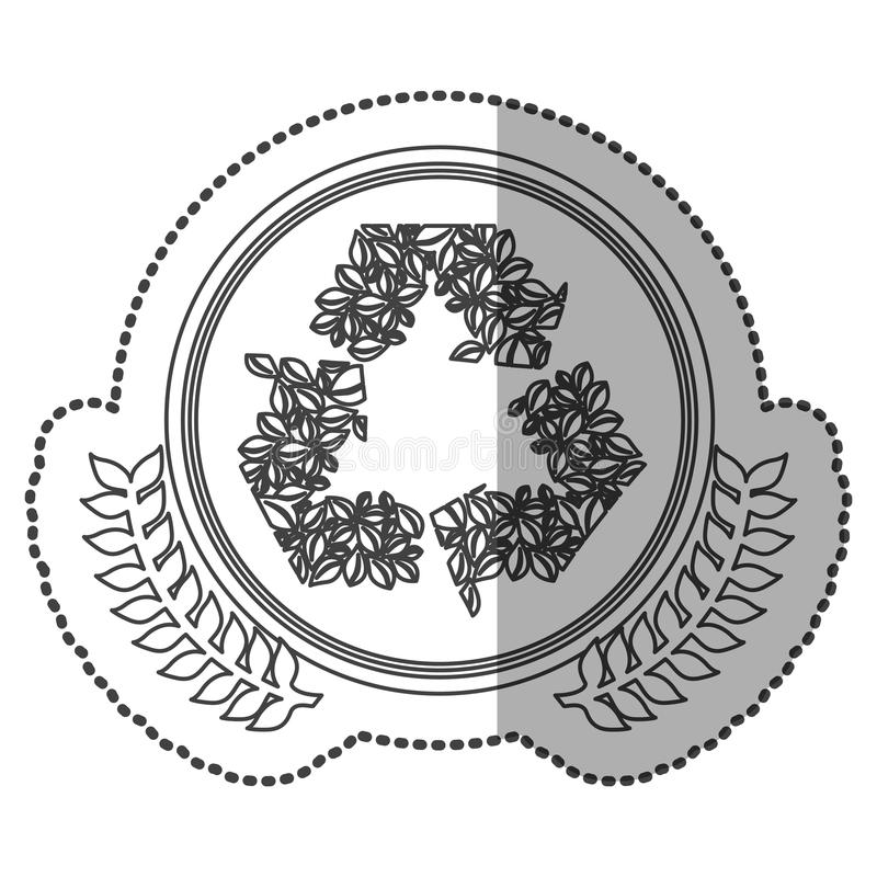 Download middle shadow sticker monochrome with olive crown with ornament leaves recycling symbol in circle stock