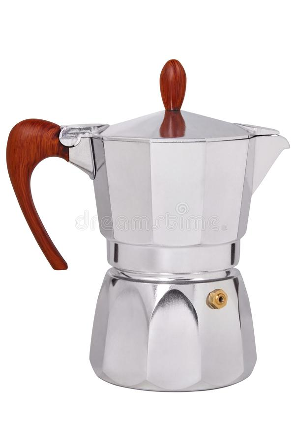 Middle sized metal geyser coffee pot, coffee maker isolated royalty free stock images