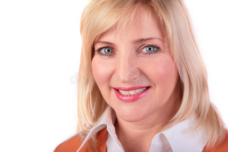 Middleaged woman face close-up 2 royalty free stock photo
