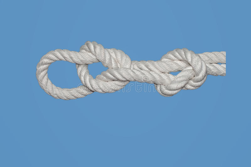 Middleman´s Knot. Is used for hauling heavy weight in the manner of a harness stock photography