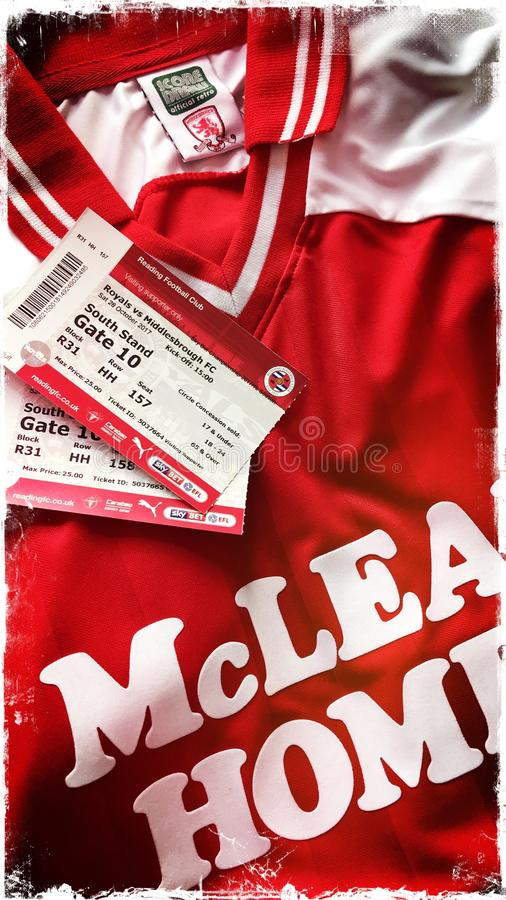 Middlesbrough retro football shirt with match tickets stock images
