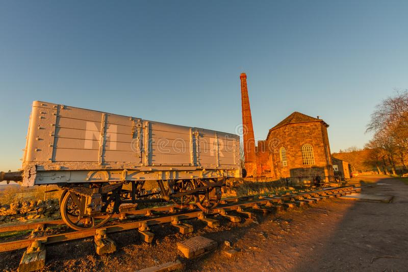 Middleton Top Engine House in early morning light. Middleton Top steam engine house, used to haul trains up incline. Cromford, Derbyshire, England, UK royalty free stock photo