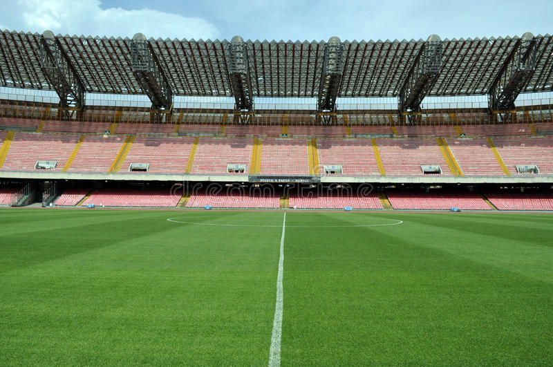 Midfield in soccer stadium stock images