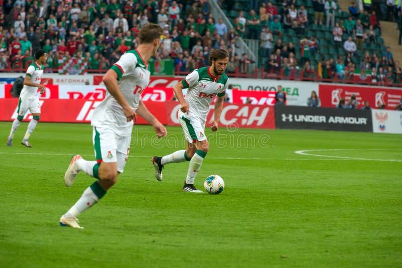 Midfielder Grzegorz KRYHOVIAK 7 sobre o jogo de futebol fotografia de stock