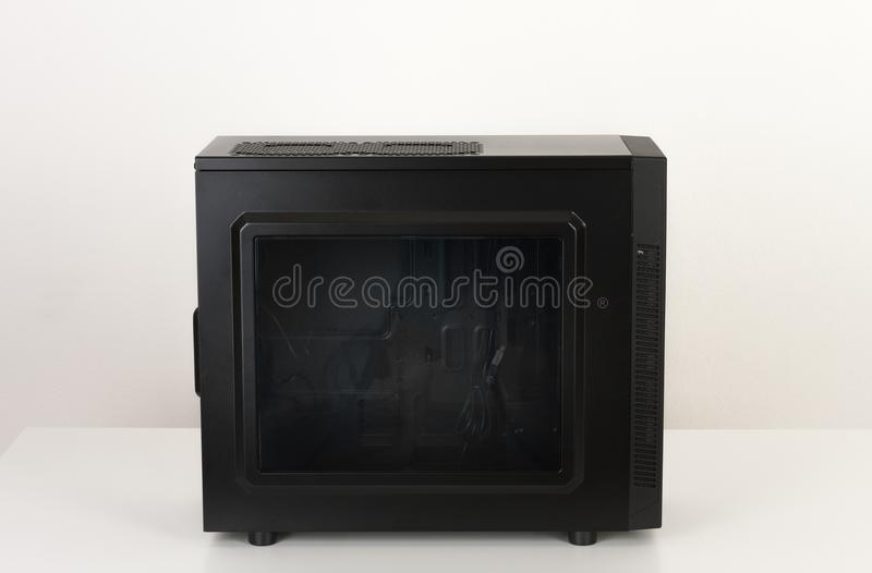 Midi tower computer case with transparent acryl side royalty free stock photos
