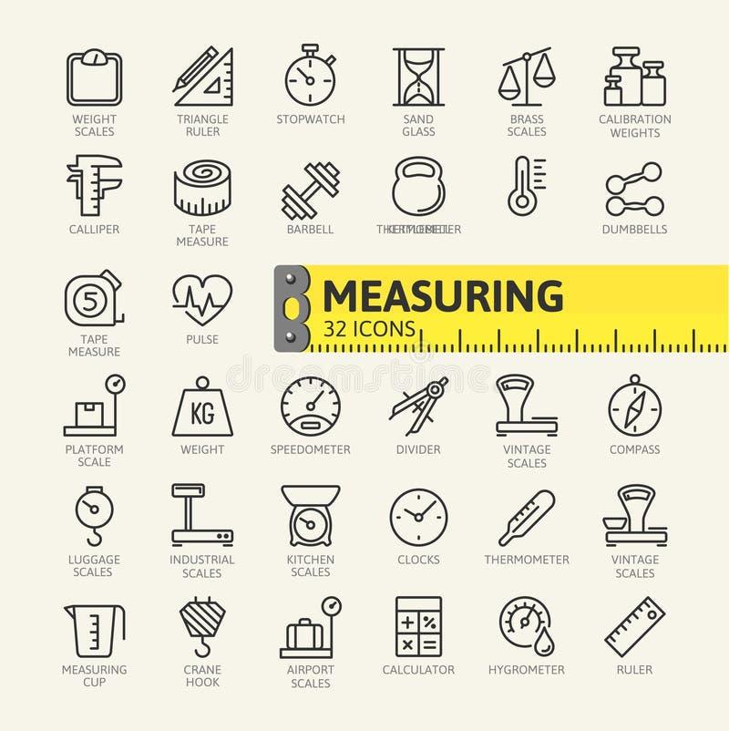 Midiendo, el icono del web de los elementos de la medida fijó - el sistema del icono del esquema libre illustration