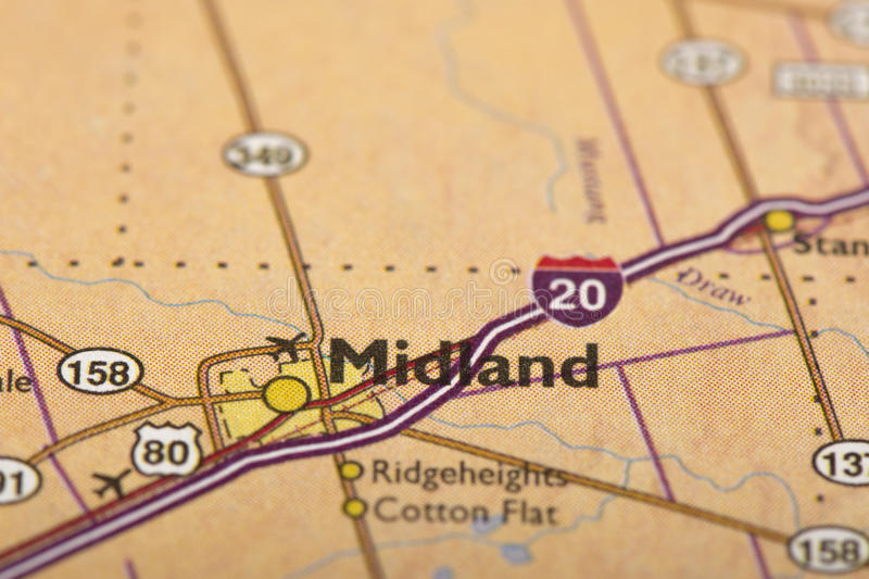 Midland, Texas on map. Closeup of Midland, Texas on a political map of the United States stock photo