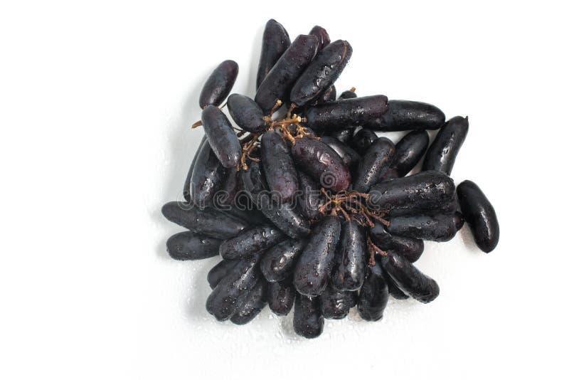 Midnatta långa svarta druvor royaltyfri foto