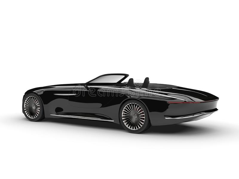 Midnight black modern convertible concept car - side view. Isolated on white background stock illustration