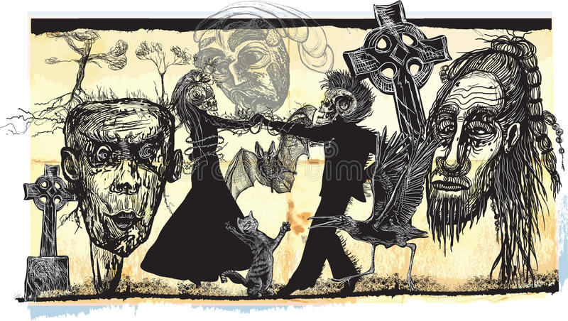 Midnight dancers, voodoo night - an hand drawn vector. Freehand sketching. Dancing lovers in the middle of horror faces. Churchyard dancers stock illustration