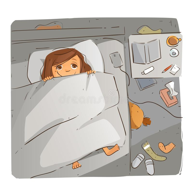 Those Midnight Ideas. Waking up in the middle of night with big ideas royalty free illustration