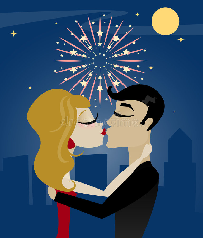 Midnight Kiss. Couple kissing at midnight on New Year's Eve, with moon, stars and fireworks above the city