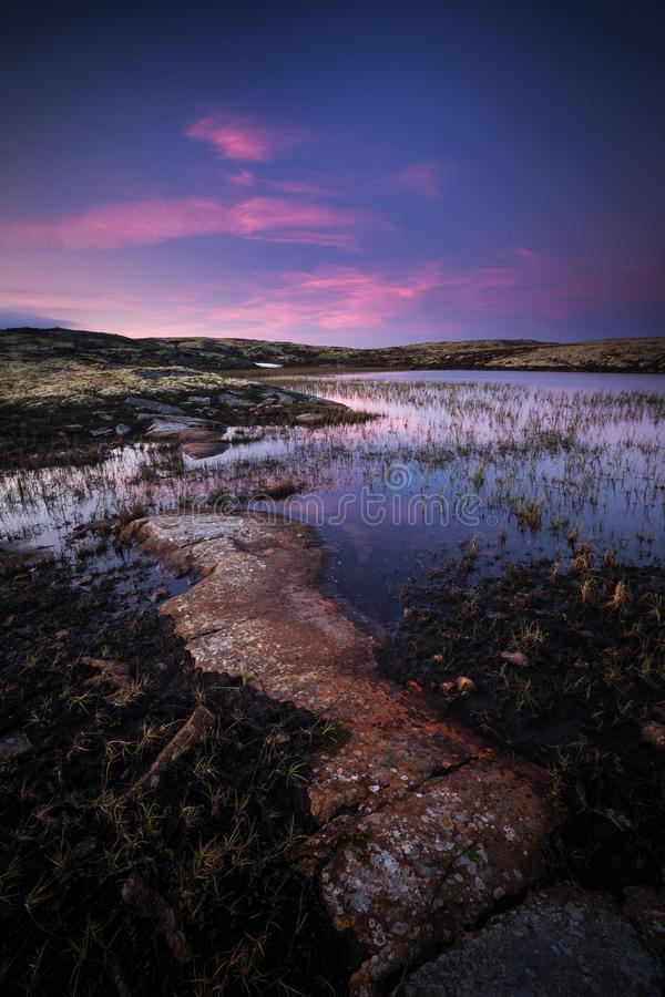 Midnight light in summer time, middle Norway royalty free stock photos