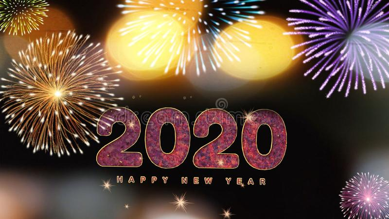 Midnight lighting background of happy new year 2020 royalty free stock photo