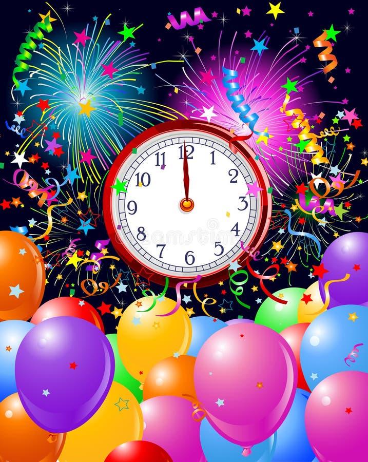 midnight nytt år för bakgrundsklocka royaltyfri illustrationer