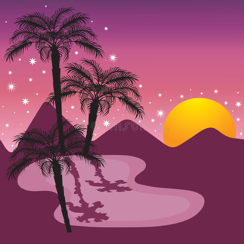 Download Midnight at the Oasis stock vector. Image of card, landscape - 14059508