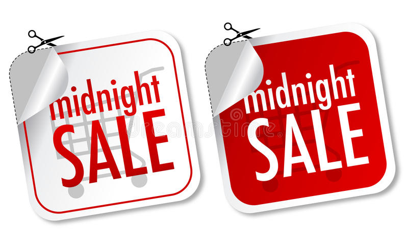Midnight sale stickers vector illustration