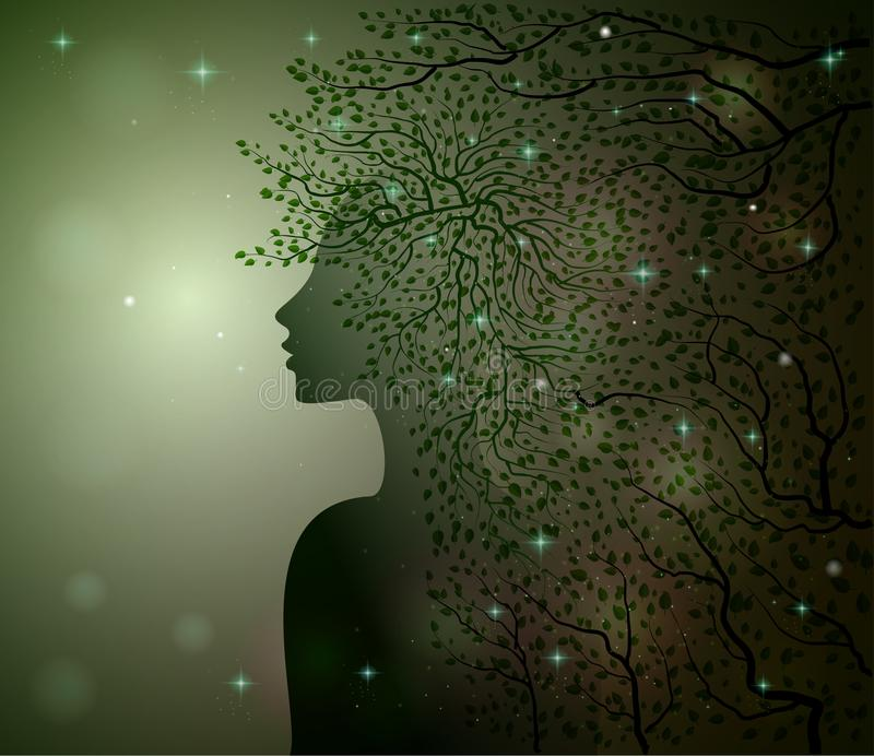 Midnight summer dream, forest fairy, woman profile decorated with leaves branches and sparkles, Flora, stock illustration