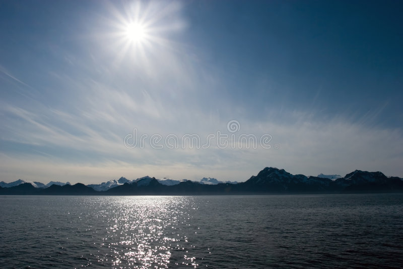 Midnight sun in Alaska stock photography