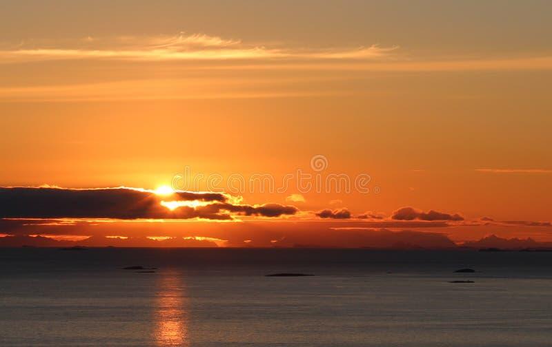 Midnight sun. Beautiful midnight sun in Northern Norway stock photography