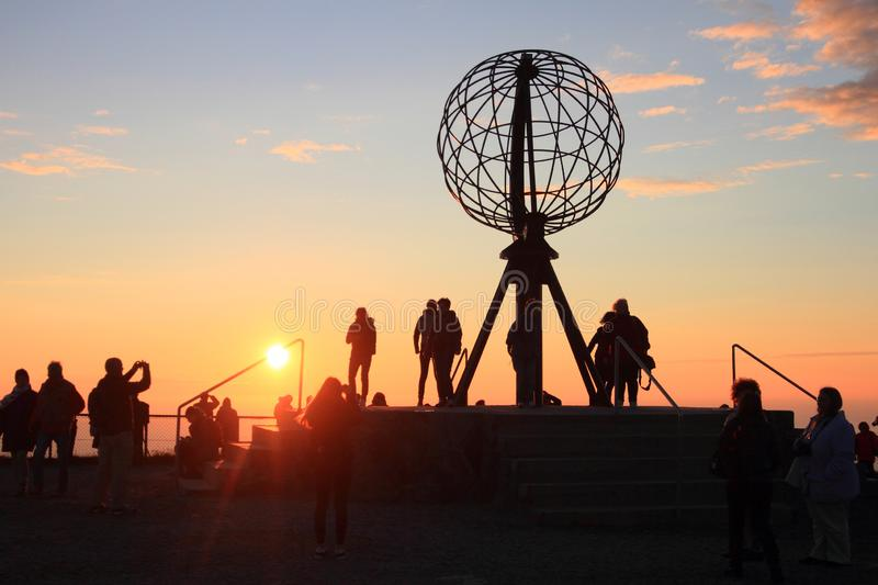 Midnight sun on the North Cape, the northernmost part of Europe. Norway, region of Finnmark , Arctic Circle stock photos