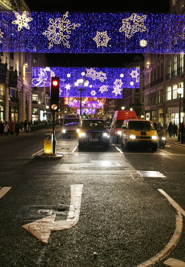 Midnight traffic. In London during Christmas time stock photography