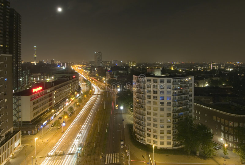 Midnight traffic stock photography