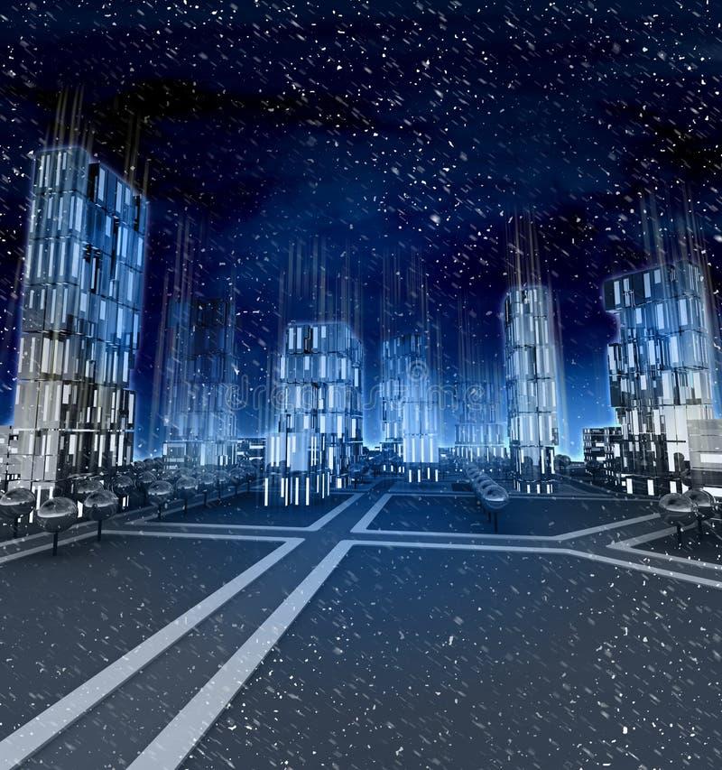 Midnight window lights in skyscraper city at winter snowfall royalty free illustration