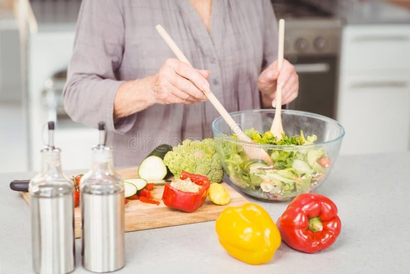 Midsection женщины подготавливая салат стоковая фотография