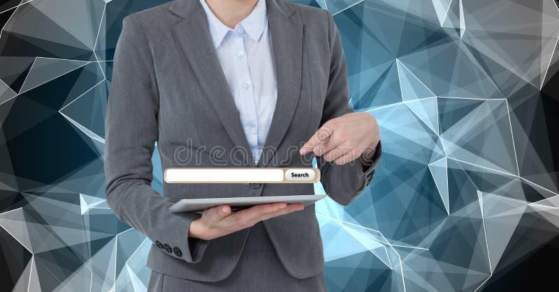 Midsection av affärskvinnan som pekar på skärmen över den digitala minnestavlan stock illustrationer