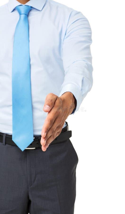 Midsection av affärsmannen Gesturing Handshake royaltyfri bild
