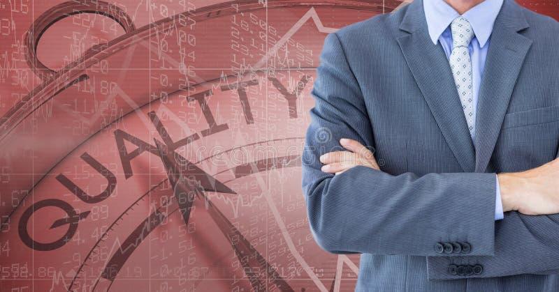 Midsection av affärsmannen med den kvalitets- klockan vektor illustrationer