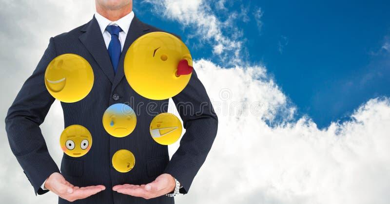 Midsection av affärsmannen med olika emojis stock illustrationer