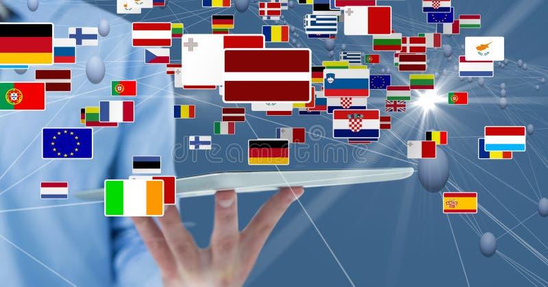 Midsection av affärsmannen som rymmer den digitala minnestavlan med olika flaggor och förbinder prickar royaltyfria foton