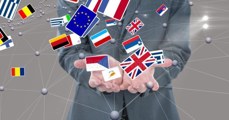Midsection av affärspersonen som omges med olika flaggor och förbindande prickar arkivbild