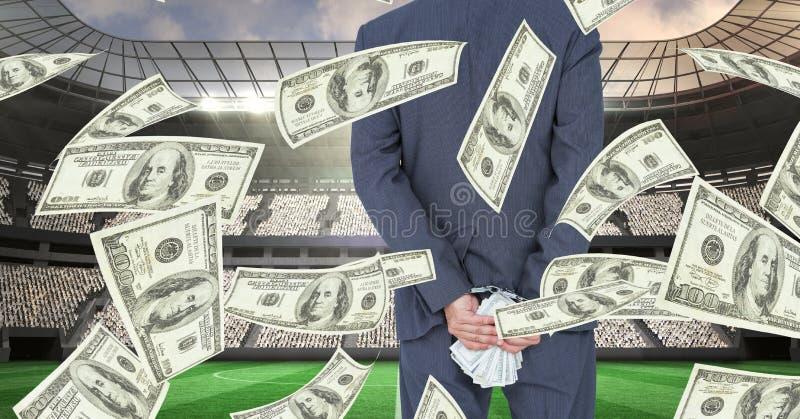 Midsection av hållande pengar för affärsman bak baksida på fotbollsarena som föreställer korruption vektor illustrationer