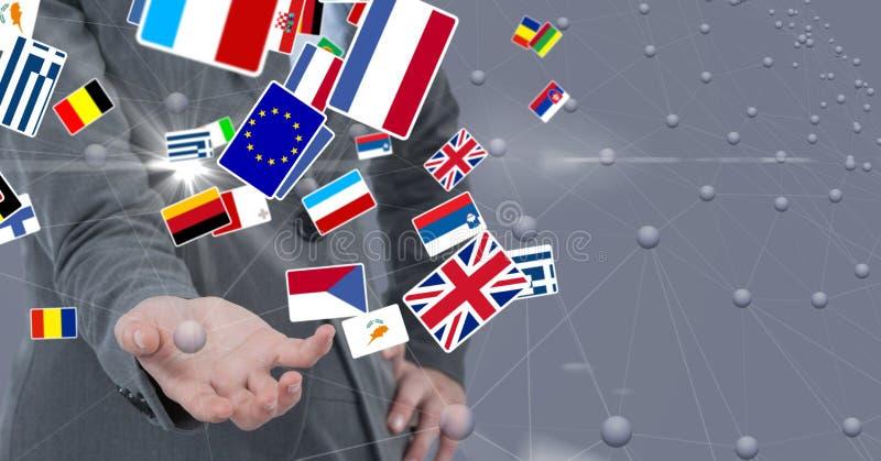 Midsection biznesowa osoba z różnorodnymi flaga zdjęcie stock
